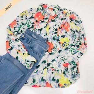 [GAP] White Floral Print Boyfriend Shirt